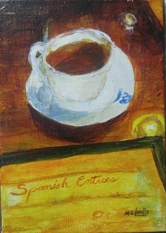 acrylic painting of a cup of cuban coffee and a menu on a table by M Christine Landis