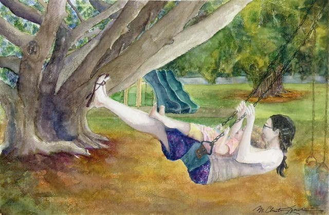 watercolor painting of mother and child swinging at the park by M Christine Landis