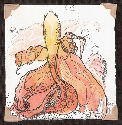 watercolor and ink painting of a yellow orange beta fish by M Christine Landis