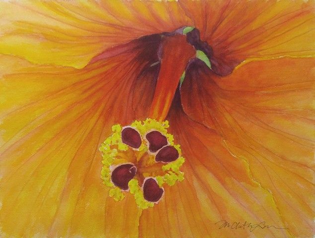 watercolor painting of yellow hibiscus by M Christine Landis