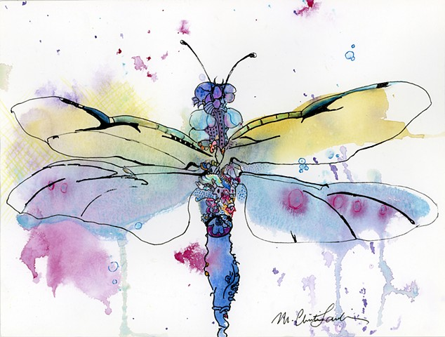 Award winning whimsical dragonfly painting in watercolor & ink by M. Christine Landis