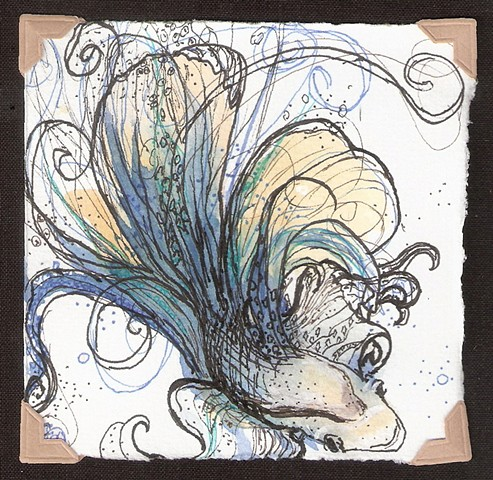 watercolor and ink painting of a blue, green and yellow beta fish by M Christine Landis