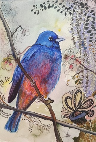 Red-bellied Bunting, beautiful red and blue bird painting in watercolor, markers and ink by M. Christine Landis
