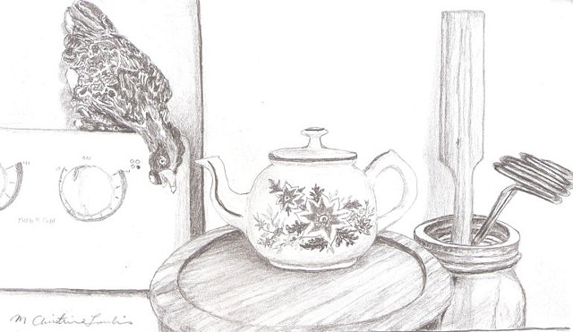 graphite pencil drawing of ceramic chicken, tea pot and kitchen utensils by M Christine Landis