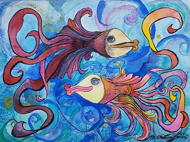 watercolor painting of two colorful and flirty beta fish with swirly tails in swirly blue water