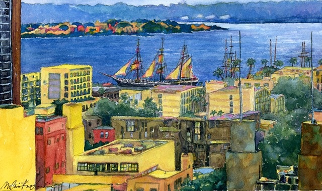 watercolor painting of tall ships and city buildings at San Franciso Bay by M Christine Landis