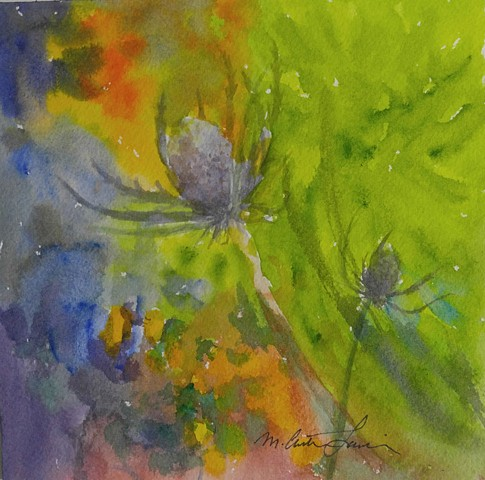 watercolor painting of abstracted thistles by M Christine Landis