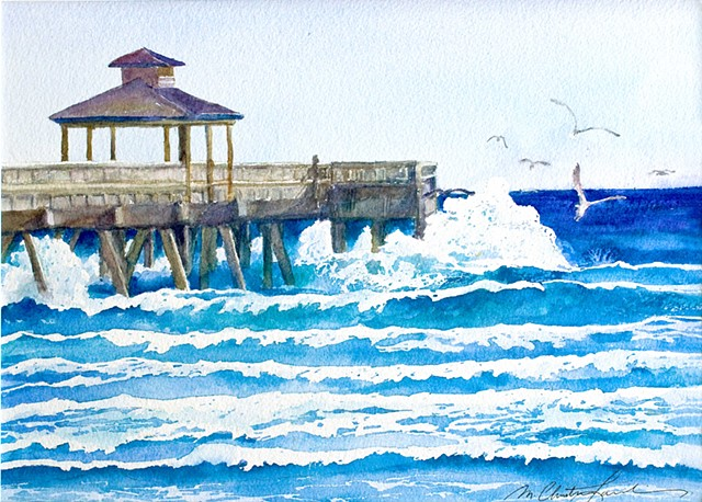 watercolor painting of seagulls flying above waves crashing against the pier at Deerfield Beach Florida by M Christine Landis