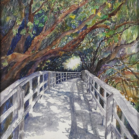watercolor painting of walkway to the beach at Dania Beach Hollywood Florida by M Christine Landis