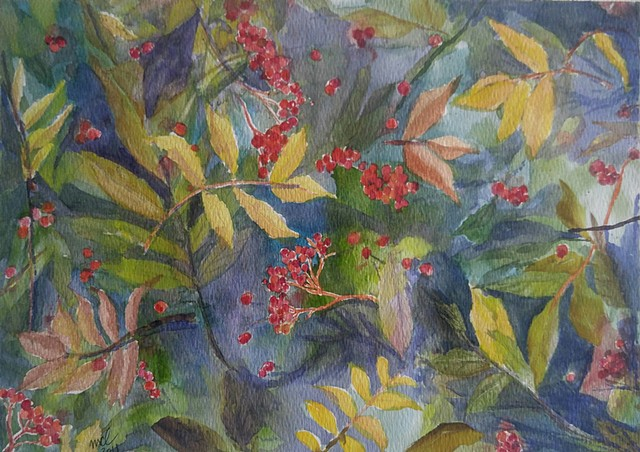 watercolor painting of red berries and leaves in fall colors by M. Christine Landis