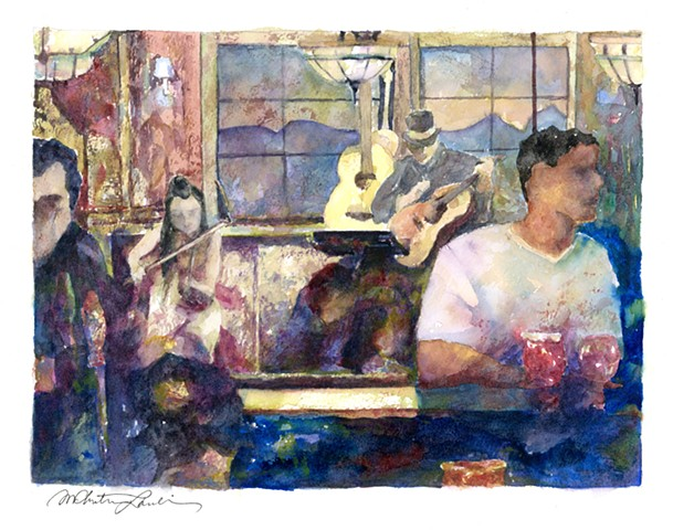 watercolor painting of guitar and fiddle musicians playing in a pub by M Christine Landis