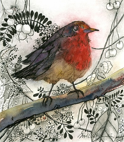 Red Breasted Robin, beautiful little birdie painting in watercolor, markers and ink by M. Christine Landis