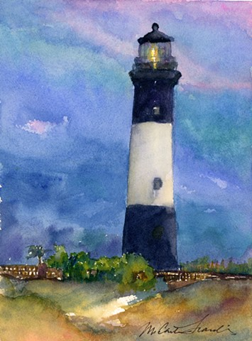 watercolor painting of Tybee Island Lighthouse, near Savannah, Georgia by M Christine Landis