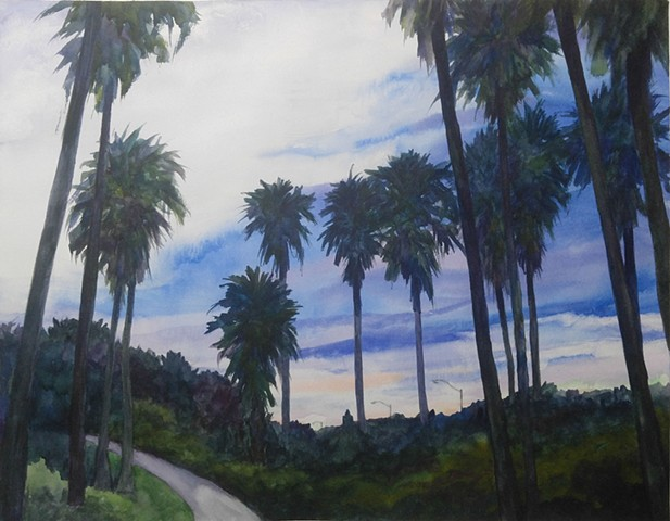 watercolor painting of walking path and palm trees at dusk in the park overlooking Fort Lauderdale airport by M Christine Landis