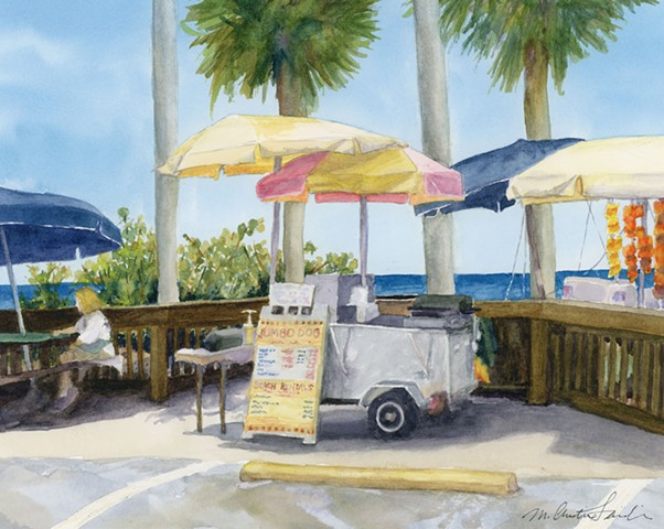 watercolor painting of beachside hot dog stand and umbrellas by M Christine Landis