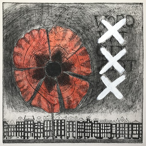 Etching of canal houses and chine-collé of a poppy incorporated with a handwritten letter.