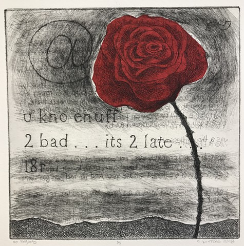 Etching and chine-collé of a red rose with email text.