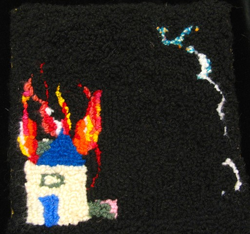 "Burn Yer Motha Fuckin' House Down Wool/Burlap 8.5"" x 9"" 2013"