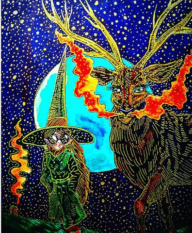 Moors Witch and Scottish Red Stag Familiar
