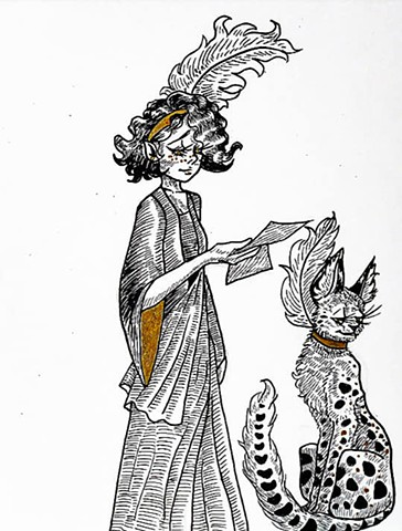 1920s Witch and Serval Familiar
