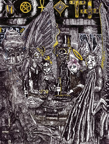 A conglomeration of deities, including the Greek god Pan and Voodoo god Baron Samedi, share dinner with other entities, such as the Hebrew demon Lilith and Angel of Death.