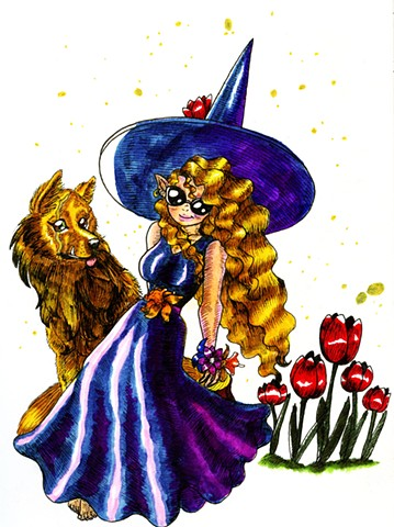 Flower Witch and Wolf Familiar, in color