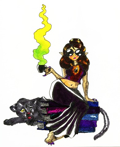 Literary Witch and Panther Familiar, in color