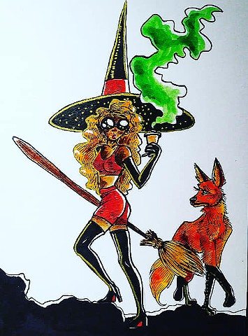 Leggy Hipster Witch and Maned Wolf Familiar