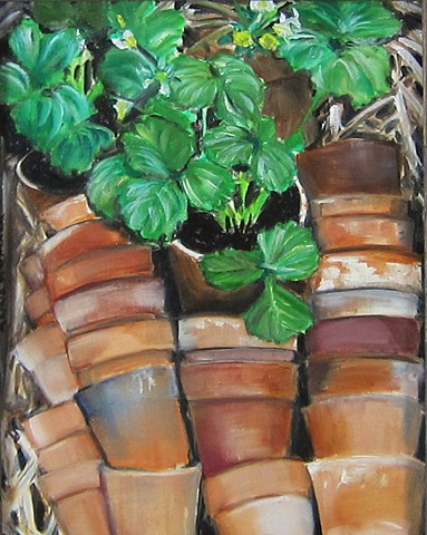 Stacked Clay pots and folliage, terra cotta,