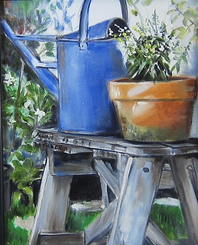 Watering can on a ladder, clay pot. terra cotta, greenery, folliage
