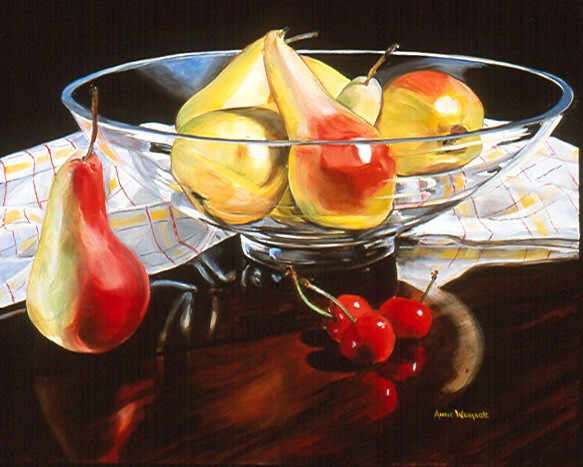 Pears are in a low round glass bowl atop a checkered cloth. A pear and cherries sit on a dark grained wood surface.  Background is black.