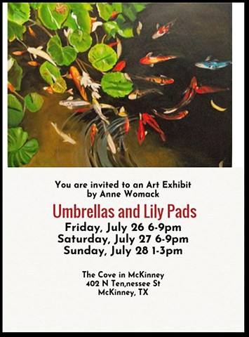 Invitation to solo exhibit at the Cove in McKinney