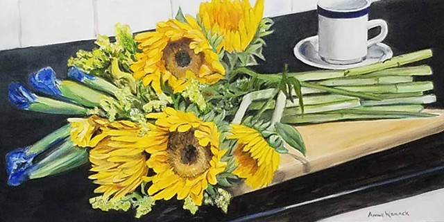 Sunflowers on the Cutting Board