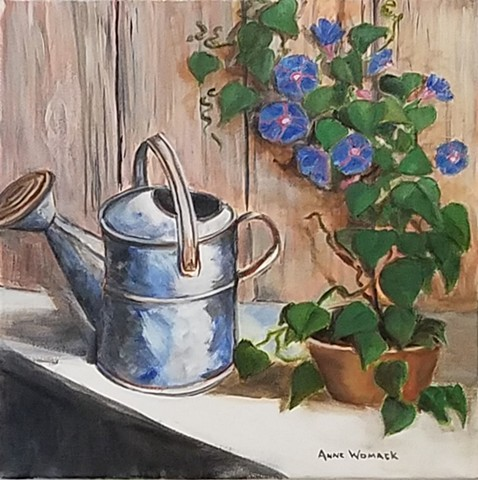 Metal watering can in front of a fence.  A morning glory vine grows on the fence