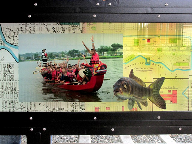 Sheridan Station, detail with dragon boat race on Sloans Lake, Jon Yamamoto photo. Photo of carp, Warren Photographic Ltd.