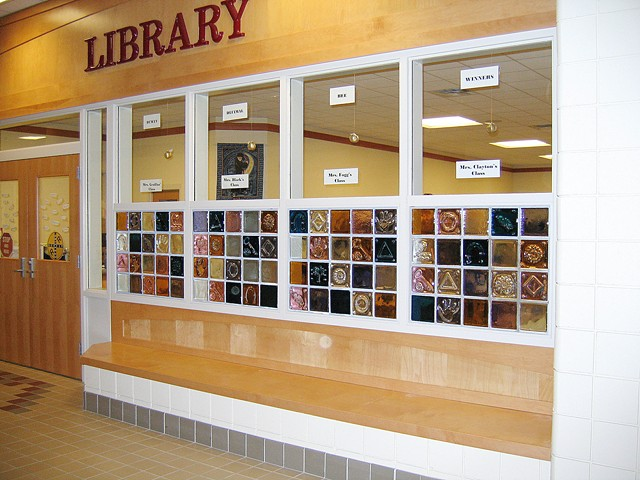 Lisbon Community School  Lisbon, ME  Handmade cast glass blocks for Library