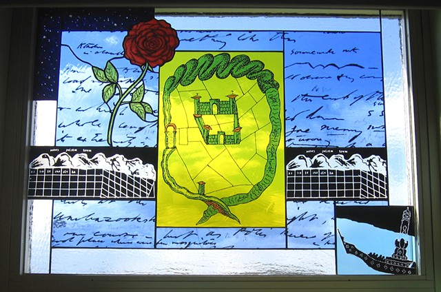 Close up of window with ancient Roman fortress and rose