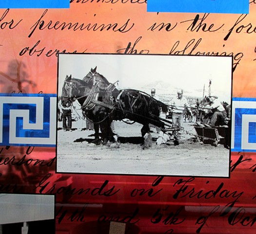 Team of horses with Greek textile motif  Draft horses, Utah State Fair Assoc. Manuscript, History Research Center