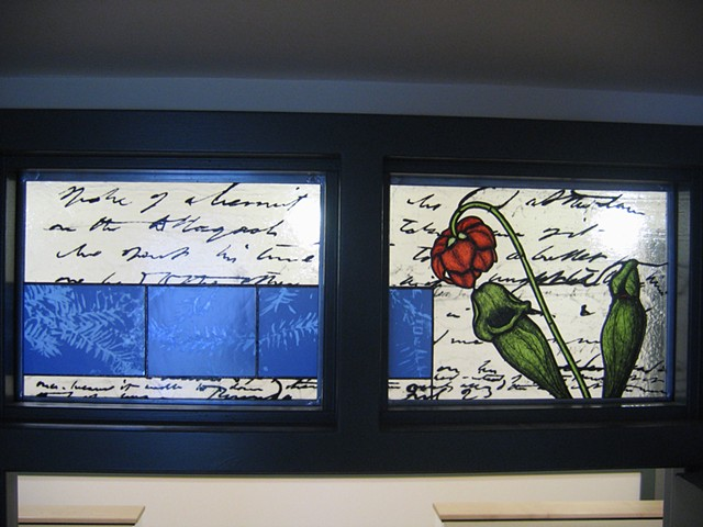 Transom window with pitcher plant and Thoreau excerpt, foliage