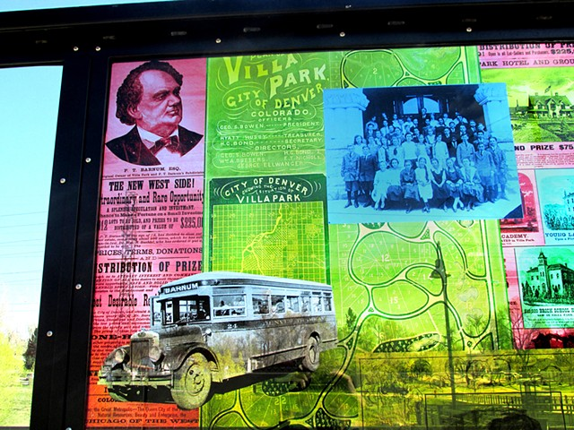 Knox single windscreen, detail with P. T. Barnum, the Villa Park neighborhood, and other historic local material.