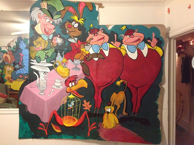 The Mad Hatters Wall for Alice In Wonder Land Set
