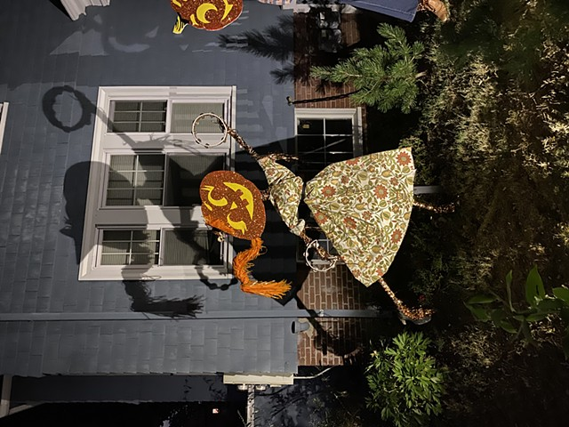 Mrs. Pumpkinhead attending Fall Pumpkin Party Installation at the corner of Powder House Terrace and Kidder St. Somerville, MA.