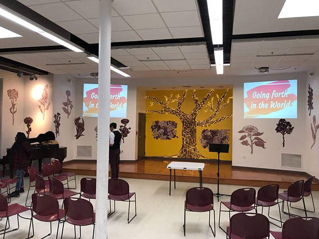 February - March 2019 decor at Connexion,  A reimagine faith community in East Somerville,  paint paper and tape
