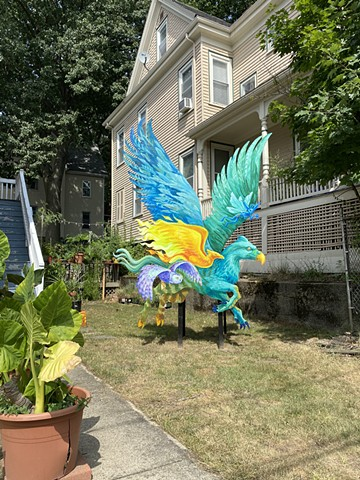 Hippogriff Installation at the corner of Powder House Terrace and Kidder St. Somerville, MA.