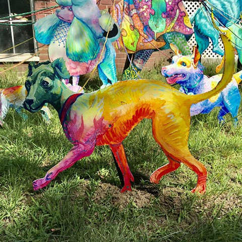 "Whippet, an Addison to the ""Puppies are furrrrrever!"" Summer 2020 Installation at the corner of Powder House Terrace and Kidder St. Somerville, MA."