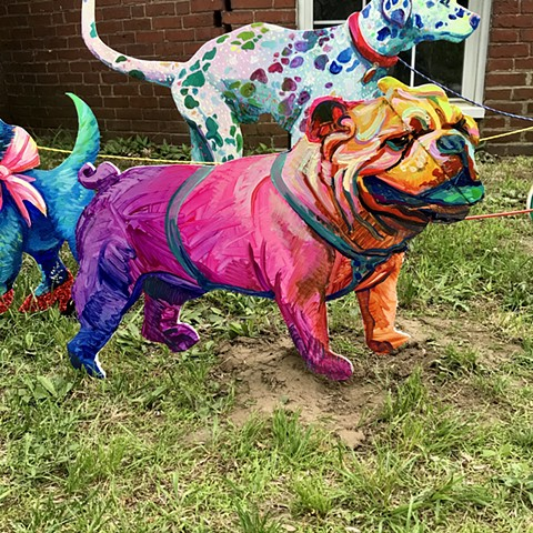 "American Bulldog, an Addison to the ""Puppies are furrrrrever!"" Summer 2020 Installation at the corner of Powder House Terrace and Kidder St. Somerville, MA."