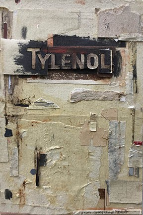 found/repurposed paper, wood, enamel, stain, rust, wood glue, on board.