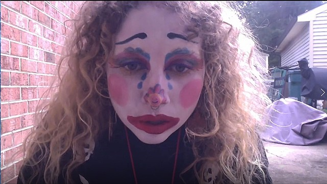 MIchelle Chatham, still from Enjoy! The Clown: I was Never a Theater Kid, single channel video, video still, 2018