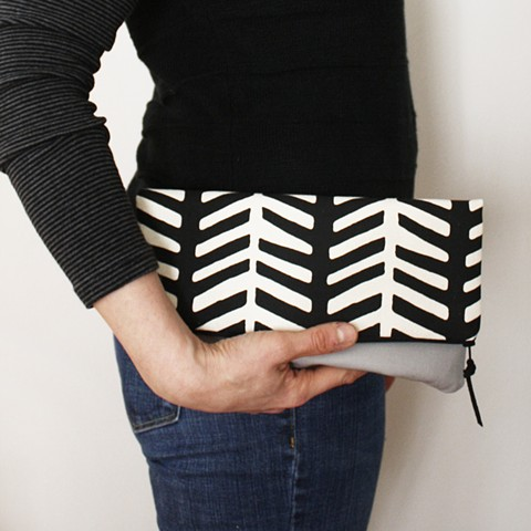 textile design by Tamara Bagnell - plume clutch
