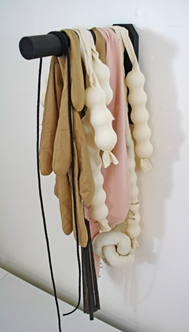 undone by Tamara Bagnell - wood and fabric abstract sculpture